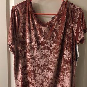 Pink crushed velvet top